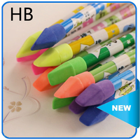 Wooden black hb standard pencil big pencil with eraser toppers