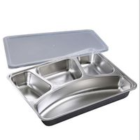 Stainless Steel Divided Dinner Tray Lunch Container Food Plate for School Canteen