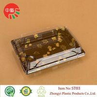 plastic disposable blister sushi tray with clear lid thumbnail image