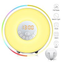 7Colors Touch 10 Brightness Simulated sunrise light led sunlight kids digital alarm clock with alarm