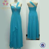 2014 fashion single shoulder flare bridesmaid dress for wedding thumbnail image