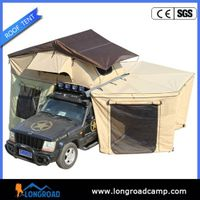 Camping car roof tent with fox wing awing