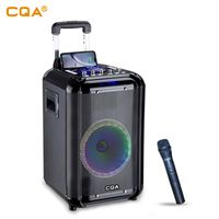 CQA new ideas 10 inch wood speakers trolley speaker with phone Wireless charging party LED light thumbnail image