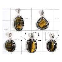 KWLL09029 Wholesale lot of 15 pc Tiger Eye Stone Pendants