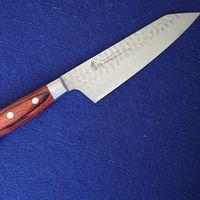 Japanese Kengata Santoku VG10 Damascus Kitchen Knife #07399 thumbnail image