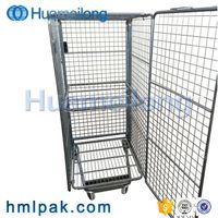 Industry security 4 sided cargo storage customized mobile folded zinc logistics roll container