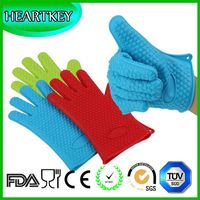 Private Label BBQ Heat Resistant Silicone Oven Gloves With Fingers thumbnail image