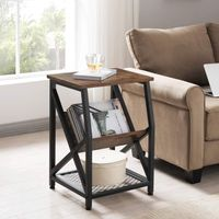 Nightstand Rustic End Table for Living Room Side Table with 3-Tier Storage Shelf thumbnail image