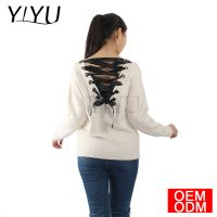 2018 Autumn Women Long Sleeve Round Neck Back Deep V Bandage Sweater Shirt Top Blouse