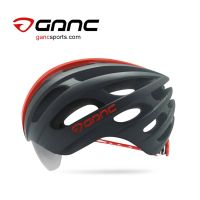 Ganc Road Bike Helmet with Integrated Sunglasses - Signal