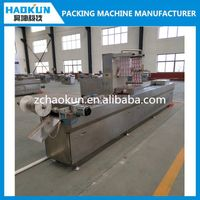 automatic continuous plastic film sealing vacuum packing machine with printing system and MITSUBISHI