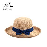 Good quality natural plain madagascar raffia straw women summer hat thumbnail image