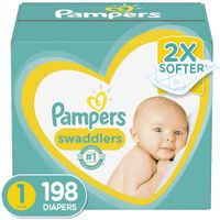 Pampers Swaddlers Disposable Baby Diapers Newborn/Size 1 (8-14 lb), 198 Count