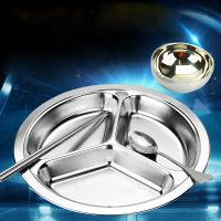 3 Compartments Round Plate Stainless Steel Food Containers Drop Resistant Tray for Kids thumbnail image