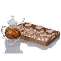 Fire Resistant Glass Teapot Set For Flowering Tea