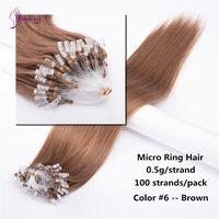 "Straight Human Hair Extensions Micro Loop Brown #6 Remy Hair Extensions Micro Beads 18"" 20"" 22"" 24"""