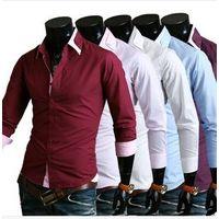 New Autumn Unique Collar Stripe Men Shirt Men Casual Long-sleeve Shirt Men Solid Slim Shirt