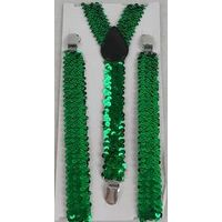 Green sequin elastic suspenders