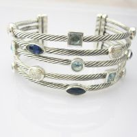 Sterling Silver Jewelry Blue Topaz CZ Five Row Bracelet (B-088) thumbnail image