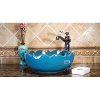 European Style Luxury Round Above Counter Top Washbowl Lavabo Ceramic Wash Basin Sinks