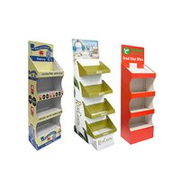 Custom cardboard floor display stand paper tiered retail display shelf for supermarket