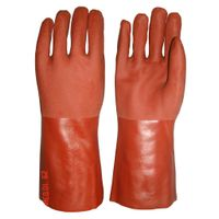 40 cm brown sandy finished PVC working safety gloves