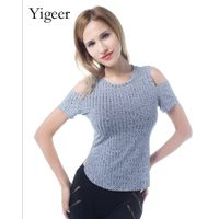 Short Sleeve O neck Cutout Shoulder Fitting Knitted Blouse