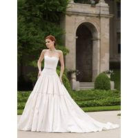 Satin A-line Sweetheart Sleeveless Chapel Wedding Bride Dress with Ruffles and Beading