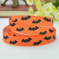 Halloween Bats Cartoon Pattern Printed Grosgrains Ribbons (Orange) thumbnail image