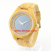 Solar bamboo watch with cork strap vogue bamboo wood watch thumbnail image