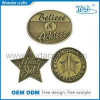 3D custom logo star shape casting iron antique brass plating lapel pin