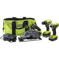 Ryobi P1837 18V One+ Cordless Brushless 3 Tool Combo Contractor Kit (9 pieces: Drill/Driver, Impact