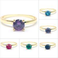 Birthstone ring 14K gold ring simulant gemstone gold ring round brilliant cut birthstone ring