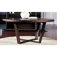 Wooden round dining table MDF panel with black oak veneer