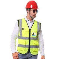 fluorescence orange with navy blue reflective strips free logo design safety vest