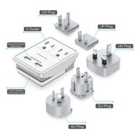 Poweradd UL Listed 2 Outlet International Travel Charger USB Electrical Outlet thumbnail image
