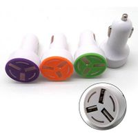New design three ports usb car charger with LED light