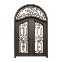 wrought iron interior security door design glass door(JDL-1011)
