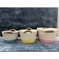 Paper Rope Storage Basket, Horn Husk Rope Basket, Natural Material Basket