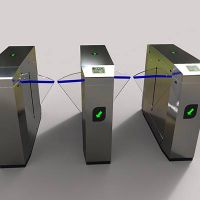 Inclined bridge flap barrier turnstile gate for security access control