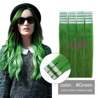 PU weft hair extensions green