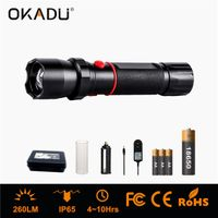 OKADU ZQ03C Zoom Police Torch AAA/18650 Rechargeable Police Torch 260Lm LED Police Flashlight