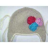 hand crochet flower beanie