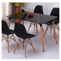 Wholesale Modern Polypropylene Wood Legs Classic Look Black Dining table thumbnail image