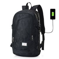 Backpack with USB Charging Port Laptop Backpack Travel Bag Camping Outdoor (Black) thumbnail image