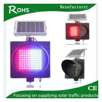 Red Blue flashing solar LED safety road traffic signs