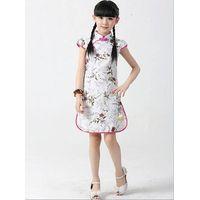 Knee-length noble vogue lovely elegant girl dress garment apparel