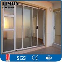 Powder coated aluminum tempered glass sliding door with cheap price