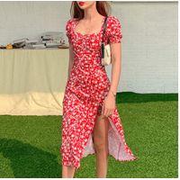 Floral Print Square Collar Dresses New Summer Ruffle Puff Sleeve Slim Split Midi Woman Chiffon Dress thumbnail image
