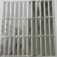 pure white glass mosaic tiles strip shape wall